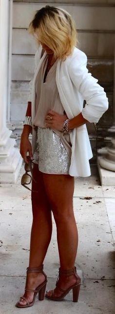 White blazer + sequin shorts.
