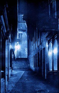 """London Night"" by Harold Burdekin (1934) from Spitalfields Life - George Street, Strand"