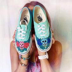 .@jessie_khoo   His and hers sugar skull Custom Vans