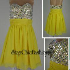 Short Yellow Rhinestone Beaded Top Strapless Party Dress