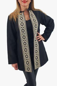 Sacou/Pardesiu brodat cu motive traditionale 6 Peplum, Kimono, Sweaters, Products, Fashion, Tricot, Embroidery, Moda, Fashion Styles