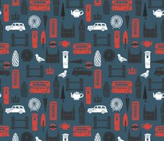London Block Print - Navy/Black/White/Red by Andrea Lauren fabric by andrea_lauren on Spoonflower - custom fabric