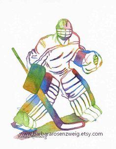 Ice Hockey Goalie Art Hockey Art Print by BarbaraRosenzweig Ice Hockey  Players 0dc246fe5