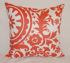 Coral Suzani Pillow Cover Floral Print Coral Decorative Pillow Cover 18x18. $16.00, via Etsy.