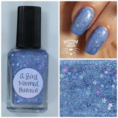atlcatsmeow #lynnderella LE A Bird Named Bunnie is a softly holographic periwinkle blue microglitter with assorted holographic accents in a clear pink-shimmered base.