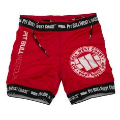 Pit Bull West Coast Vale Tudo Fight Shorts - Red  #buy #streatwear #tee #pitbullsports
