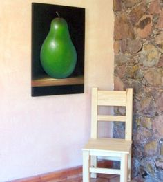 "Extra large original painting green pear fruit still life huge minimalistic art acrylic on canvas 24"" x 36"" Free Shipping CIJ"