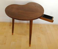 Atomic Era Teak Kidney Side Table with drawer/ashtray by InteriorRevolutions on Etsy