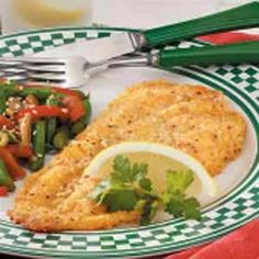 Breaded Flounder Fillets Recipe- Recipes  I use flounder in this recipe, but any fish fillets can be prepared with this tasty coating. It's quick and easy when time is short.                                          -Michelle Smith of Sykesville, Maryland