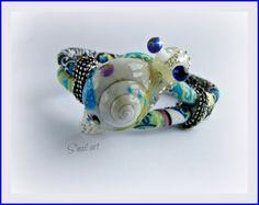 Bracelet tissu multicolore escargot snail @S'nail art,bijoux originaux, colorés, uniques, fait main