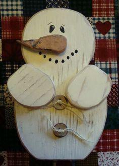 Rustic wooden snowman