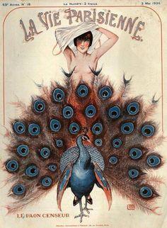 Lady and peacock: La Vie Parisienne (1925).
