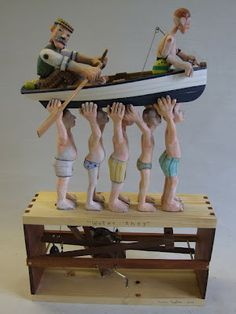 Elizabeth Frank Artworks: Carlos Zapata Sculpture and Automata funny,clever,whimsical,wooden kinetic artwork,great automata,seven men and a boat