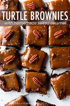 This Caramel Turtle Brownies Sallys Baking Addiction is a better for your Breakfast made with awesome ingredients! Turtle Brownies, Salted Caramel Frosting, Salted Caramel Brownies, Caramel Pecan, Caramel Bars, Brownie Bites Recipe, Brownie Toppings, Brownie Recipes, Brownie Pan