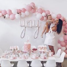 Pretty In Pink Second Birthday, Balloon-Arch, Donuts with regard to Pink And Grey Party Decorations - Best Home & Party Decoration Ideas Baby Birthday, First Birthday Parties, First Birthdays, Balloon Birthday, Birthday Backdrop, Theme Parties, Second Birthday Ideas, 2 Birthday Cake, Birthday Table