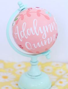 Your place to buy and sell all things handmade Painted Globe, Hand Painted, Going Away Parties, Globe Art, Metallic Paint, Globes, Custom Paint, Nursery Decor, Baby Shower Gifts
