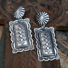 Beautiful Southwestern Stamped Sterling Silver earrings by Vince Platero Southwestern Jewelry, Native American Jewelry, Turquoise Jewelry, Sterling Silver Earrings, Hand Stamped, Jewelry Design, Beautiful, Teal Jewelry
