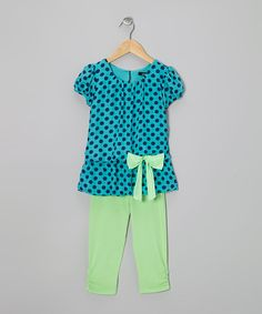 Take a look at this Turquoise Polka Dot Tunic & Green Leggings - Toddler & Girls on zulily today!