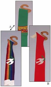 """Clever and practical wooden hanger for Clerical stoles  #601  $8.00  Keep your stoles neat and wrinkle free by hanging them with Sarah's unique stole hangers.  Two (2) hanger lengths are included in this pattern.  A -- Regular Length -- 6 ½"""" X 6 ½"""" designed for round neck, narrow neck, and deacon stoles.  B -- Extended Length -- 6 ½"""" X 8"""" designed for the V - back stole to keep the V straight.  Materials needed: A 2' X 4' piece of plywood will make approximate 21 hangers."""