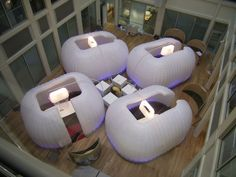 Absolutely love this idea for corporate events! These inflatable structures would be great for break-out sessions. Rather than crowding the hotel hallway, meeting attendees could converse in this unique space.
