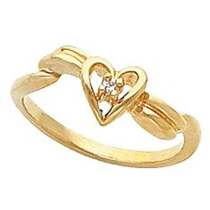14K Yellow Gold Diamond Heart Promise Ring - 0.01 Ct. -- LIFETIME WARRANTY