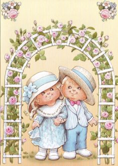 Children near an arque of roses Postcard by Ruth Morehead Beautiful Babies, Beautiful Dolls, Children Images, Digi Stamps, Love Cards, Illustration, Cute Pictures, Clip Art, Kids Rugs