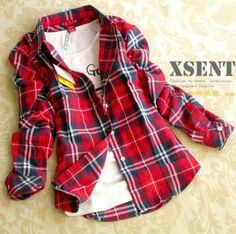 On sale at 15% OFF - 2014 Academy British Style Womens Flannel Shirt Red Plaid Blouse Long Sleeve Plus Size Plaid Cotton Blouses Tops with Embroidery