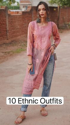 Casual Indian Fashion, Indian Fashion Dresses, Indian Designer Outfits, Simple Kurta Designs, Stylish Dress Designs, Stylish Dresses, Ethnic Outfits, Indian Outfits, Western Outfits Women