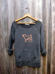 cute as a button Pug Sweatshirt, Pug Sweater, S,M,L, XL. $36.00, via Etsy.
