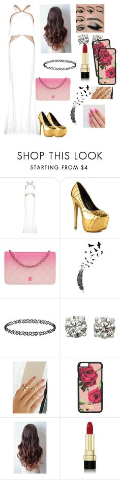 """""""GOLD AND WHITE BEAUTY"""" by sierra-ci ❤ liked on Polyvore featuring Liliana, Chanel, Dorothy Perkins and Dolce&Gabbana"""