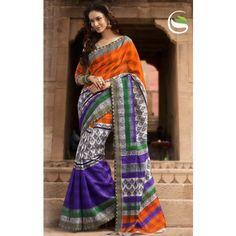 New wonderful orange and purple color bhagal puri silk printed saree with blouse