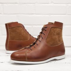 Dash Chestnut in SB Foot leather with a suede panel and white boat sole. $369 at helmboots.com