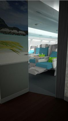 The new Business Class entrance on Air Tahiti Nui. Air Tahiti, Tahiti Nui, Business Class, South Pacific, French Polynesia, Entrance, Airplanes, Cabins, Aviation