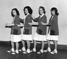 1940's School Cheerleaders: white pleated skirts, school sweater with initial, bobby socks, and saddle oxfords! -  (vintage school, yesteryear)