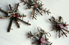 Christmas snowflake DIY made from pine or spruce needles, buttons, berries, twine, felt - Little Things Bring Smiles: *Rustic Snowflakes* -