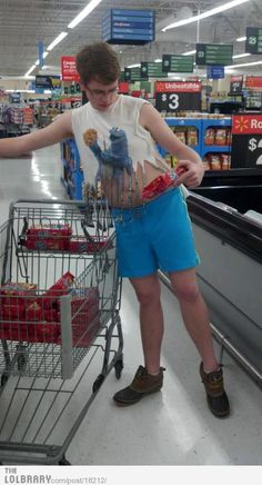 Meanwhile in Walmart. Was it me or was I the only one who noticed that is cart is filled with nothing but cookies?