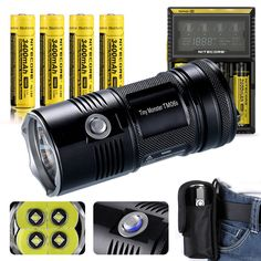 Bundle: Nitecore TM06S New 4000 Lumens CREE XM-L2 U3 LED Flashlight by 4PCs 3400mAh 18650 with D4 Charger Wall/Car Adapter EASTSHINE EB182 Case Cases >>> Check out the image by visiting the link.