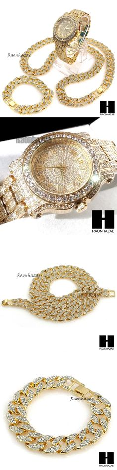 Chains Necklaces and Pendants 137839: Hip Hop Diamond Techno Pave Watch 30 Iced Out Cuban Stone Chain Bracelet Set -> BUY IT NOW ONLY: $71.24 on eBay!