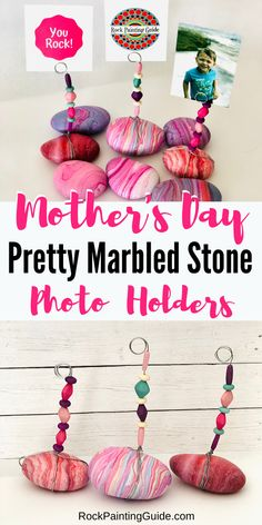 Mother's Day Gifts & Crafts : Easy Photo Holder Painted Rocks Try this fun and easy to make painted stone photo holder DIY for Mother's Day! Cute Kids Crafts, Diy Crafts For Adults, Mothers Day Crafts For Kids, Diy Mothers Day Gifts, Crafts For Kids To Make, Craft Activities For Kids, Easy Diy Crafts, Craft Stick Crafts, Diy Craft Projects