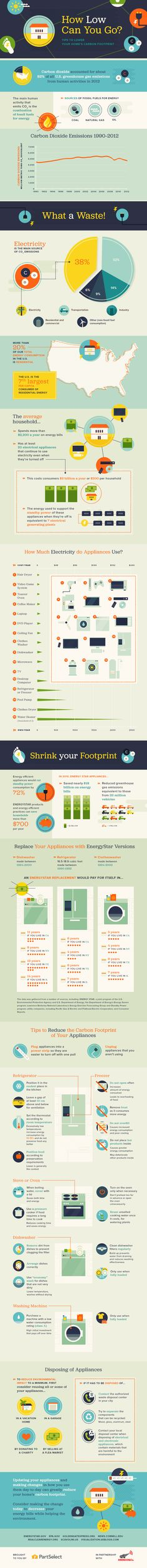 How to cut carbon footprint from your home? Infographics