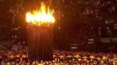 The Olympic Cauldron burns, lit by seven young athletes, chosen for their promise by British sporting legends