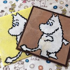 Moomin perler beads by Fuse Bead Patterns, Beading Patterns, Knitting Patterns, Fuse Beads, Perler Beads, Pixel Pattern, Bead Weaving, Pixel Art, Diy And Crafts