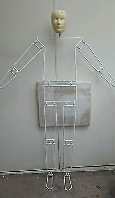 """Vintage 1960s """"Articulated Metal Wire Mannequin"""" Dept. Store Advertising Display"""