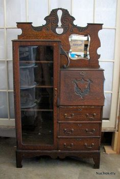 "My Grandmother had one of these, it was almost black from regular polishing with ""Old English"" furniture polish. Oak Art Nouveau Desk with Glass Secretary Cabinet, circa 1900 Victorian Furniture, Antique Furniture, Cool Furniture, Modern Furniture, Antique Chairs, Furniture Stores, Dining Furniture, Rustic Furniture, Antique Armoire"