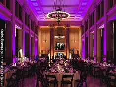 Bright purple wedding lighting by Love in the Mix, San Francisco Bay Area.
