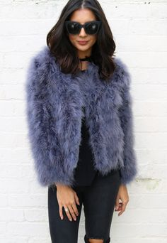 Fluffy Ostrich Feather Marabou Jacket in Dark Grey - One Nation Clothing - One Nation Clothing - 1