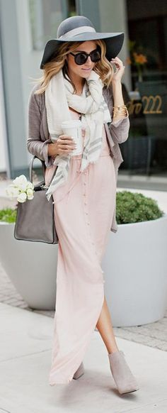 dress pink spring fall outfits 2015 2016 scarf white cream grey chunky floral booties nude suede maxi skirt maxi dress maxi button cardigan casual outfit baby pink ankle boots floppy hat starbucks coffee sunglasses button up skirt fashion hat