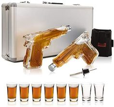 Amazon.com | ShotsClub Gun Whiskey Decanter and Glass Set – 2 x 7oz Unique Gun Decanters for Alcohol, 8 x 1.5oz Shot Glasses, 1 x Dual Holster & 1 x Pourer – Fun Gifts For Men (Deluxe Aluminum Carry Case): Liquor Decanters Funny Boyfriend Gifts, Funny Gifts For Him, Boyfriend Humor, Gifts For Your Boyfriend, Gift Box For Men, Best Gifts For Men, Holster, Back Scratcher, Great Anniversary Gifts