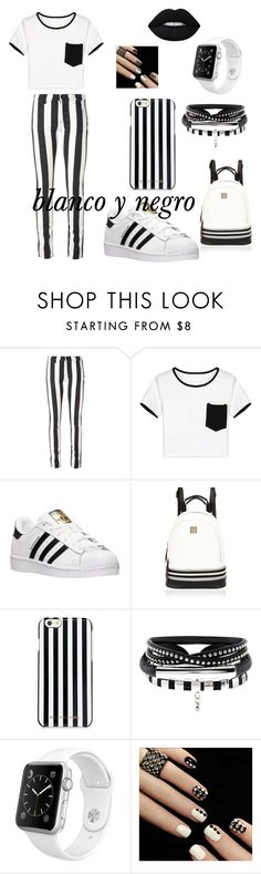 """blanco y negro"" by gorjonerika on Polyvore featuring moda, Off-White, WithChic, adidas, River Island, MICHAEL Michael Kors, Apple y Lime Crime"