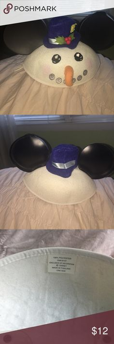 Disney Snowman Mickey Ear Hat cute rare snowman disney hat with straps. Ear is bent Disney Accessories Hats